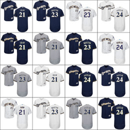 2017 Men flexbase Milwaukee Brewers 21 Travis Shaw 23 Keon Broxton 24 Jesus Aguilar Baseball Jerseys stitch