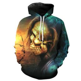 Free Shipping US Size M-5XL High Quality New Fall Skull Custom 3D Digital Printing Hooded Sweatshirt Sweater
