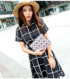 Wholesale HOT SALE The Triangle Stitching Single Plaid chain Shoulder Bag Handbag Geometric Ling Folded Laser Package