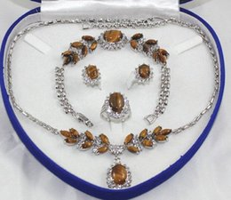 free shipping > Rare 18K White Gold GP Inlay Tiger's Eye Necklace Bracelet Earring Ring No box
