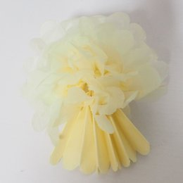 Paper tissue pompom 3 inch small size beige 200 pcs lot wedding decorations free shippping by DHL UPS FedEx wholsale price