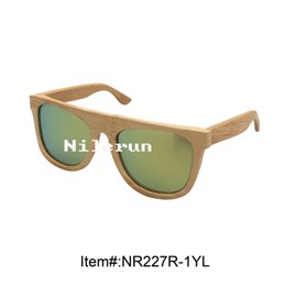 popular yellow polarized lens natural bamboo sunglasses