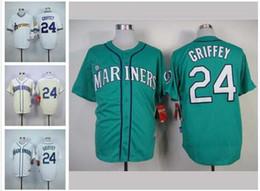 Promotion maillots de sport 24 Ken Griffey Jr Jersey Maillots Mariners Seattle Cool Base Jersey Maillot Pas Cher Baseball Sport Blanc Bleu Vert Crème