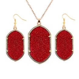2016 New Acrylic 8 color shine Long Dangle Earrings Oval Necklace Costume Women Kendra Jewelry Sets