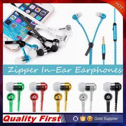 Wholesale Zipper Earphones Headset MM Jack Bass Earbuds In Ear Zip Earphone Headphone with MIC for Iphone Plus Samsung S6 MP3 MP4 pc