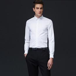 Compra On-line Camisas novas do partido-Novos homens camisas branco de mangas compridas noivo camisa de vestido de alta costura negócio casual entrevista camisa do vestido de festa
