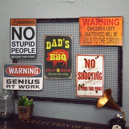Wholesale Metal Tin signs DAD S BBQ Warning Shot Sign Plaque Barn or Man Cave Craft Wall Painting