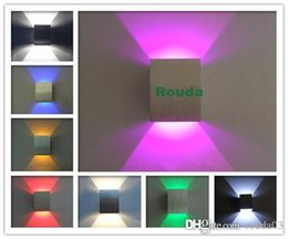 Wholesale new aluminum Wall Light W Red Green Yellow Purple Blue Cool Warm White light LED Wall Lamp Aisle Stair Sconce ROUDA