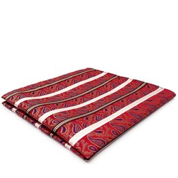 YH33 Red White Striped Paisley Silk Jacquard Woven Handkerchief Hanky