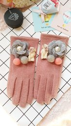 Wholesale Han edition of abb cloth with soft nap small sweet little bear wind restoring ancient ways with thick warm gloves female touch points to cam