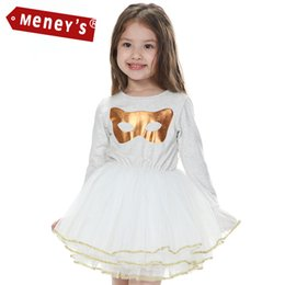 Meney's WD-009 Baby Girls Tutu Dresses Masquerade Kids White Clothes Toddler Wedding Lace Ballet Gold Mask Cat Party Dress