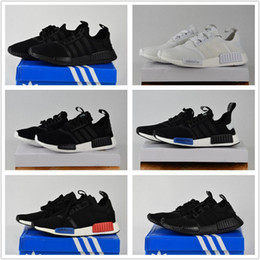 Promotion chaussures de sport bon marché 2017 Adidas Originals Discount Cheap NMD Runner Primeknit Blanc Rouge Bleu NMD Runner Chaussures de sport Hommes Femme NMD Running Boost with Box