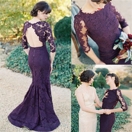 Modest Illusion Half Sleeves Open Back Grape Lace Evening Dresses 2017 Elegant Mermaid Prom Party Dresses Bridesmaid Dresses
