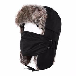 Descuento sombreros trampero Venta al por mayor de sombrero de invierno sombreros de bombardero Earflap Mantener cálido trampero Aviator Trooper gorras de esquí de nieve con máscara para hombres