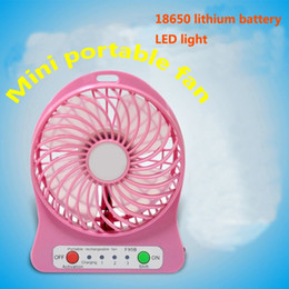 Wholesale Mini Protable Fan Multifunctional USB Rechargerable Kids Table Fan LED Light Battery Adjustable Speed cool Multi Color With Box