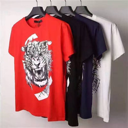 Wholesale New Arrival Summer Top Quality Mens Bal ain Cotton T Shirt with Tiger printed Fashion M XXL men Tops B853
