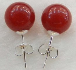 New 10mm Jewelry Natural Red Ruby & 925 sterling silver Stud fashion Earrings