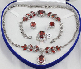 free shipping > Noblest 18K White Gold GP Inlay Red Crystal Necklace Bracelet Earring Ring No box