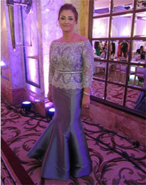 Mermaid Gray Mother of the Bride Dresses Long Sleeve Off Shoulder Sparkly Lace Taffeta Floor Length New Women Formal Gowns