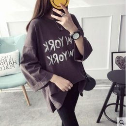 Seven sleeves sleeves women spring t-shirt students Korean version of the tide loose wild spring in front of the short before the long colle