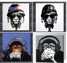 4pcs Cartoon Cool Smoking Lion,Lovely Monkey,High Quality genuine Hand Painted Wall Decor Abstract Animal Art Oil Painting On Canvas ali-TOP