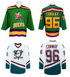 2016 New Cheap Anaheim Ducks Jersey 96 Charlie Conway Jersey Mighty Ducks Movie 1993-94 White Green Ice Hockey Jerseys