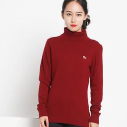 2016 2017 Promotion Ruby Red Pullover Regular Long Sleeve Turtle Neck 80%merino Wool 20%nylon New Autumn Women Slim Warm Knit Sweater Jumper