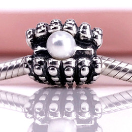 Authentic 925 Sterling Silver One Of A Kind,White Pearl Charm Fit DIY Pandora Bracelet And Necklace