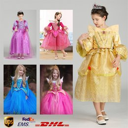 Wholesale 5 styles Fancy Children Belle princess girl purple rapunzel dress Sophia Aurora Gauze Lace Sleeping beauty flare sleeve dress party Cosplay