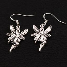 Flying Angel Earrings 925 Silver Fish Ear Hook 40pairs lot Antique Silver Chandelier E195 37x14.7mm