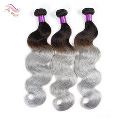6A Two Tone Brazilian Hair Color 1B / Gray Remy Extensions de cheveux humains 12-24 pouces Body Wave Virgin Human Hair Bundles For Black Women à partir de 12 pouces cheveux humains deux tons fabricateur