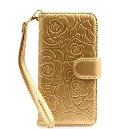 Wholesale Cell Phone Wallets For Women - Cell Phone Case High Quality PU Leather Flip Cover Women Beautiful Flower Handbag Case For iPhone 7 7Plus