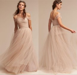 Vintage Nude 2017 BHLDN Wedding Dresses Off The Shoulder Delicate Sash Bridal Gowns Floor Length A Line Backless Wedding Gown