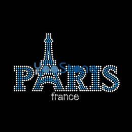 Hot Sales France Ooh La La Paris Eiffel Tower Rhinestone Transfer Iron On Hot Fix Motif