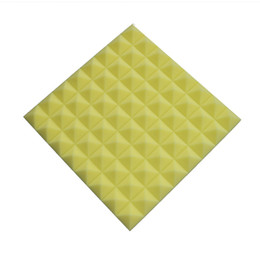 5 Pcs of 19.6''x19.6''x1.9'' Yellow Polyurethane Fiber Pyramid Soundproofing Acoustic Foam Panel Insulation Materials for Sound Absorption