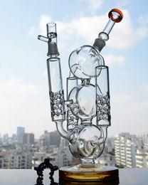 2016 crdp de verre Bongs verts de haute qualité 2 bras Sablier Percs tube épais Recycler plates-formes pétrolières Bongs Baker Bowl Plate-formes pétrolières Tubes d'eau Hookahs crdp de verre sur la vente