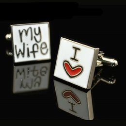 """I LOVE MY WIFE"" cufflinks, men's cuff links . Good husband ...!"