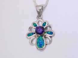 Wholesale & Retail Fashion Jewelry Fine Blue Fire Opal Stone Silver Plated Pendants For Women PAT001