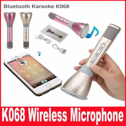 Newest K068 Bluetooth Wireless Microphone With Mic Speaker Condenser Mini Karaoke Player KTV Singing Record DHL Free Shipping