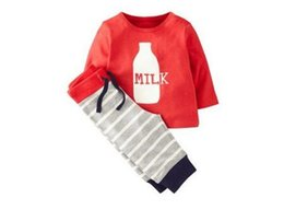 Wholesale ITO26 NEW Ins Kids Clothing Sets Cotton Long Sleeve cartoon Milk Banana stripped Kids Baby Sets spring autumn girl Boy t shirt pant