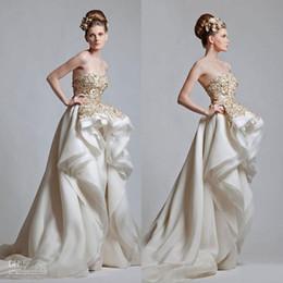 Wholesale Vintage Krikor Jabotian High Low Beaded Prom Dresses Appliqued Strapless Neckline Formal Party Evening Gowns