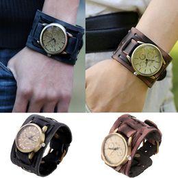 Wholesale Attractive Stylish Black Brown Leather Punk Rock Antiqued Brass Watches Women Men Bracelet Cuff Gothic Cowskin Wrist Watches