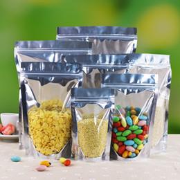 Compra Online Bolsas de embalaje reutilizables-Multi-tamaño translúcido hoja de aluminio Zip Lock Bag - Plata Aluminio metálico Mylar y bolsa de plástico resellable claro Frente