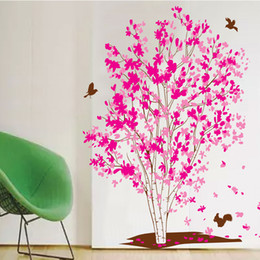 Wholesale 60 cm Pink Dream Tree Wall Stickers DIY Art Decal Removeable Wallpaper Mural Sticker XY1161