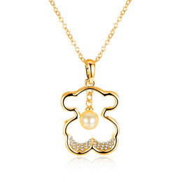 Wholesale jewelry 18k Gold plated Animal Bear shape Charm Pearl Necklace fashion Girl Party Pendant Austrian Crystal Cute Jewelry necklaces