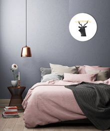No Framed Round Modern Nordic Canvas Painting You Are My Sunshine Deer Large Wall Pictures for Kid's Room