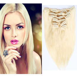 Wholesale Women Sexy Long Straight Clip In Human Hair Extensions 7pcs set Colored Straight Crochet Cheap Price Optional Color Large Stock
