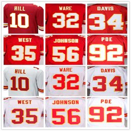 Wholesale Mens Tyreek Hill Spencer Ware Knile Davis Charcandrick West Derrick Johnson Dontari Poe Red White Jersey