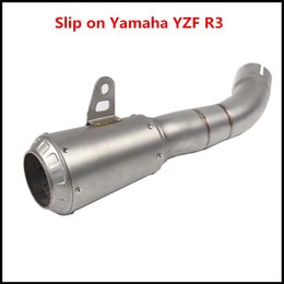 New Stainless Steel 45 mm Exhaust Tail Pipe Motorcycle Exhaust System Vent Pipe Bevel AK Laser Sticker Exhaust Tips Slip On Yamaha R3