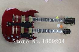 Guitare double goulots en Ligne-Vente en gros-Hot Selling 6 cordes et 12 cordes double cou g shop SG personnalisé guitare électrique en couleur rouge